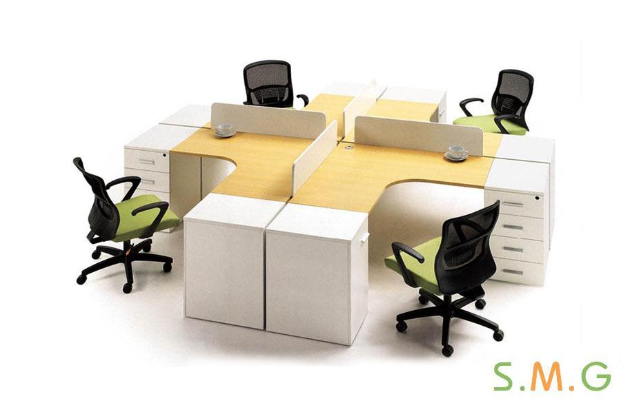 L型板式员工桌