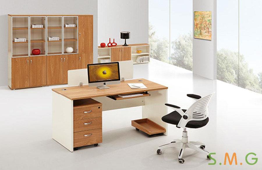 原木板式电脑桌
